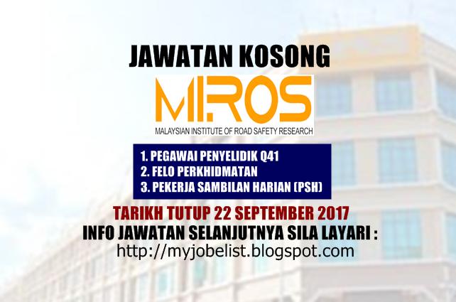 Jawatan Kosong Terkini di MIROS September 2017