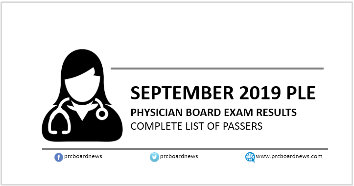 RESULT: September 2019 Physician board exam PLE list of passers