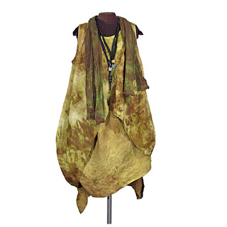 desert dress with long linen vest, scarf and necklaces from secret lentil