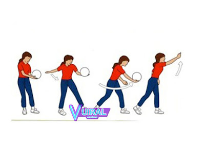 Gambar Teknik Dasar Permainan Bola Voli Servis Bawah