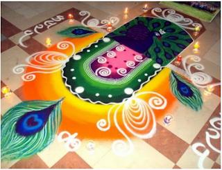 Peacock Rangoli Diwali