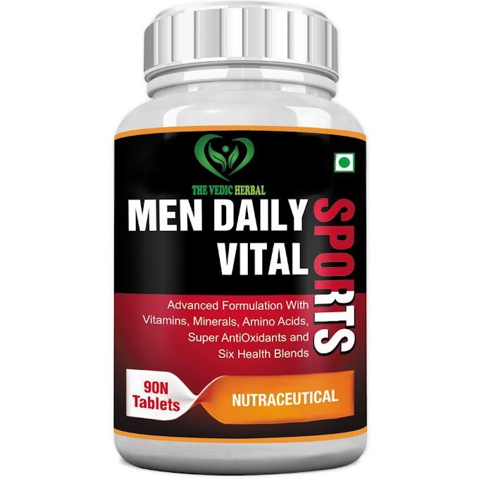 TheVedicHerbal MEN DAILY VITAL SPORTS MULTIVITAMIN (6 HEALTH BLENDS & AMINO ACIDS) - 90 TABLETS (PACK OF 3)