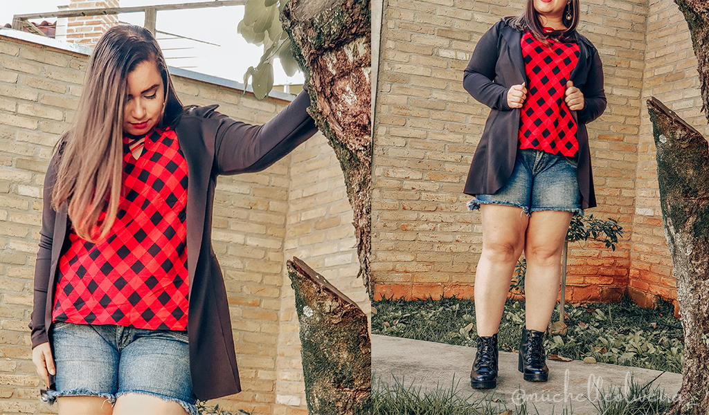 blusa xadrez e blazer