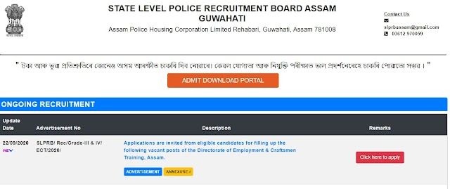 State Level Police Recruitment Board (SLPRB), Assam - 444 Vacancies for Junior Assistant & Other Posts