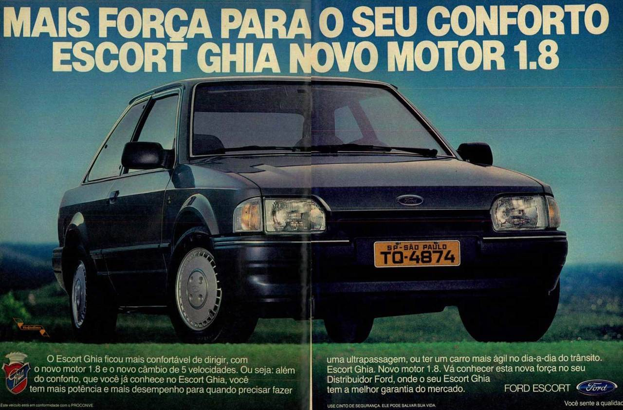 Propaganda antiga da Ford promovendo o Escort modelo 1.8 em 1989