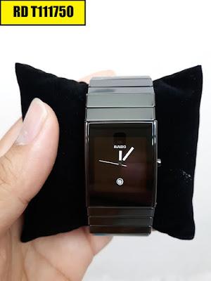 Đồng hồ nam mặt chữ nhật dây đá ceramic đen RD T111750