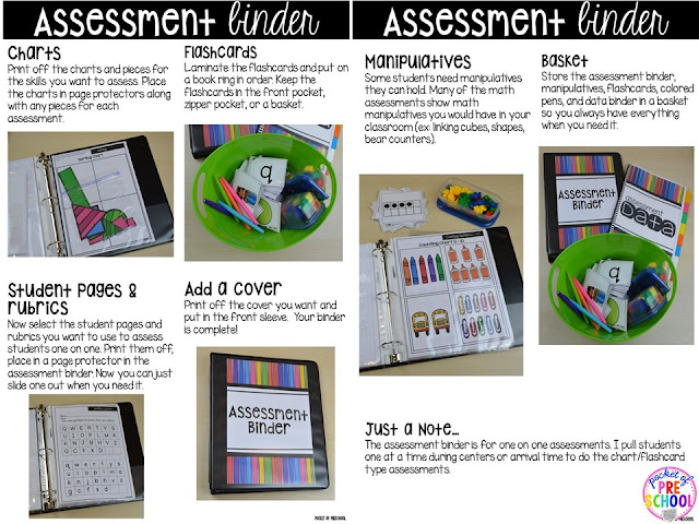 Make assessments & student portfolios easy and manageable using a NO PREP Assessment Binder! Just print, assess, record, and file! Perfect for preschool, pre-k, and kindergarten