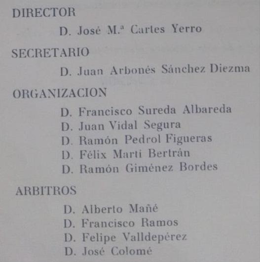 Organizadores del Campeonato Provincial de ajedrez de Tarragona de 1969