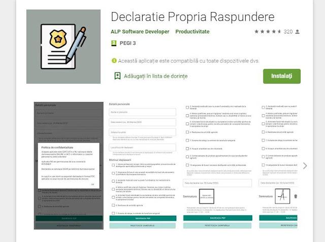 Aplicatia Declaratie Propria Raspundere