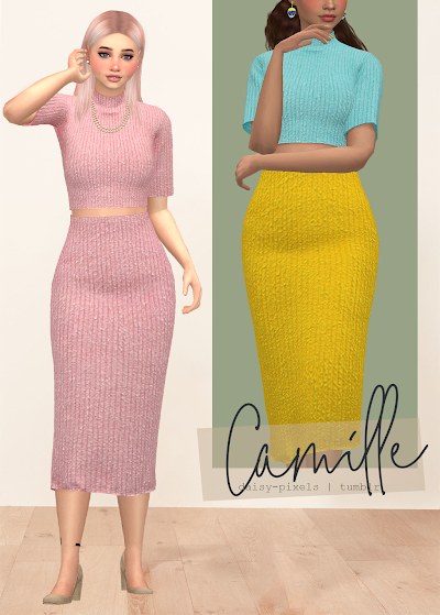- ̗̀ Camille Set ̖́- (+Necklace 💙) (TS4)