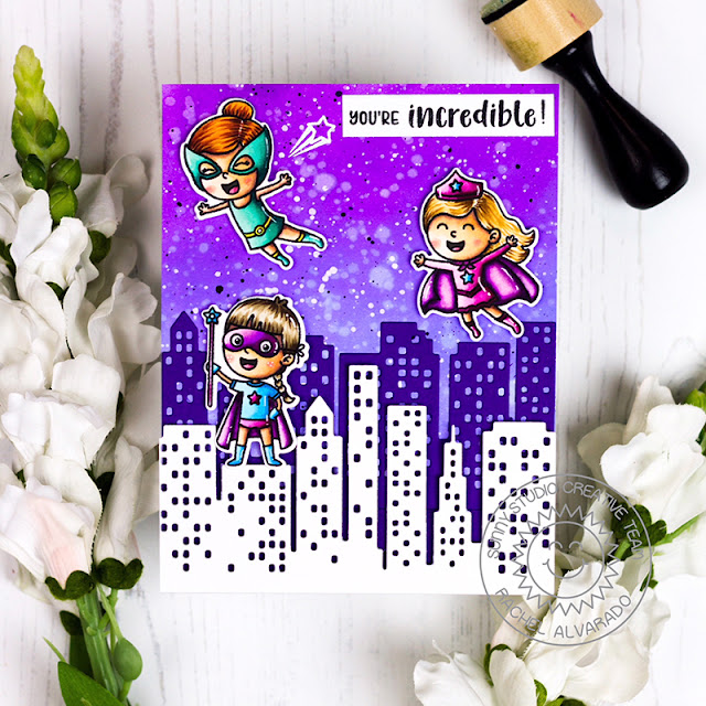 Sunny Studio Stamps: Super Duper Cityscape Border Dies Super Hero Themed Card by Rachel Alvarado