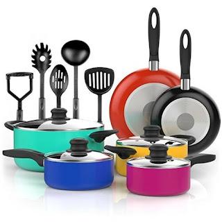 A stock image of Vremi 15 Pc. Saucy Pots Multi-Color Nonstick Cookware Set