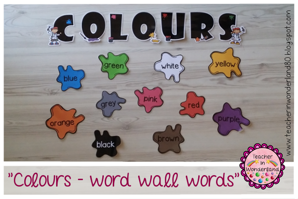 http://teacherinwonderland80.blogspot.dk/2014/07/colours-word-wall-words.html