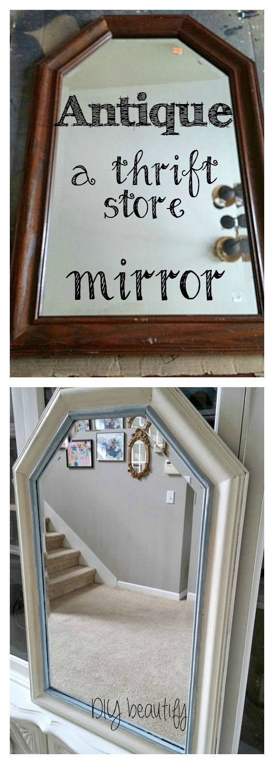 How to antique a mirror www.diybeautify.com