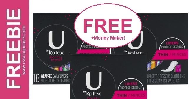 FREE U by Kotex liners CVS Deal 10/13-10/19