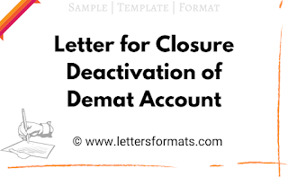 Sample Letter for Closure of Demat Account