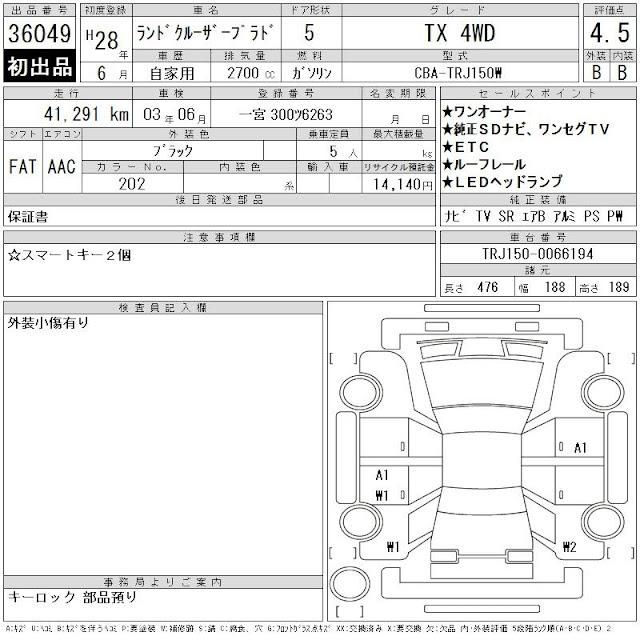 Аукционный лист Тойота Ленд Крузер Прадо