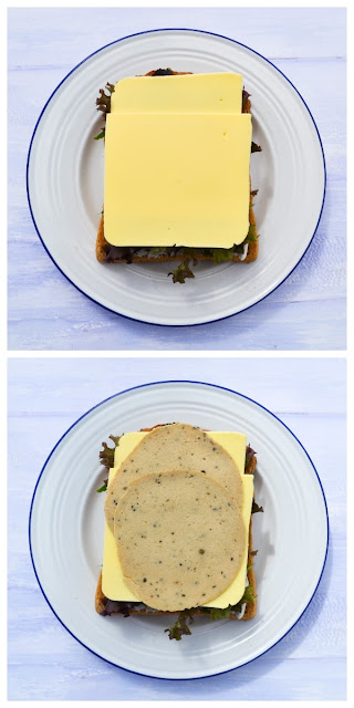 STEP TWO - SLICES - Two slices or cheese, then two slices of onion and sage slices are added to the sandwich