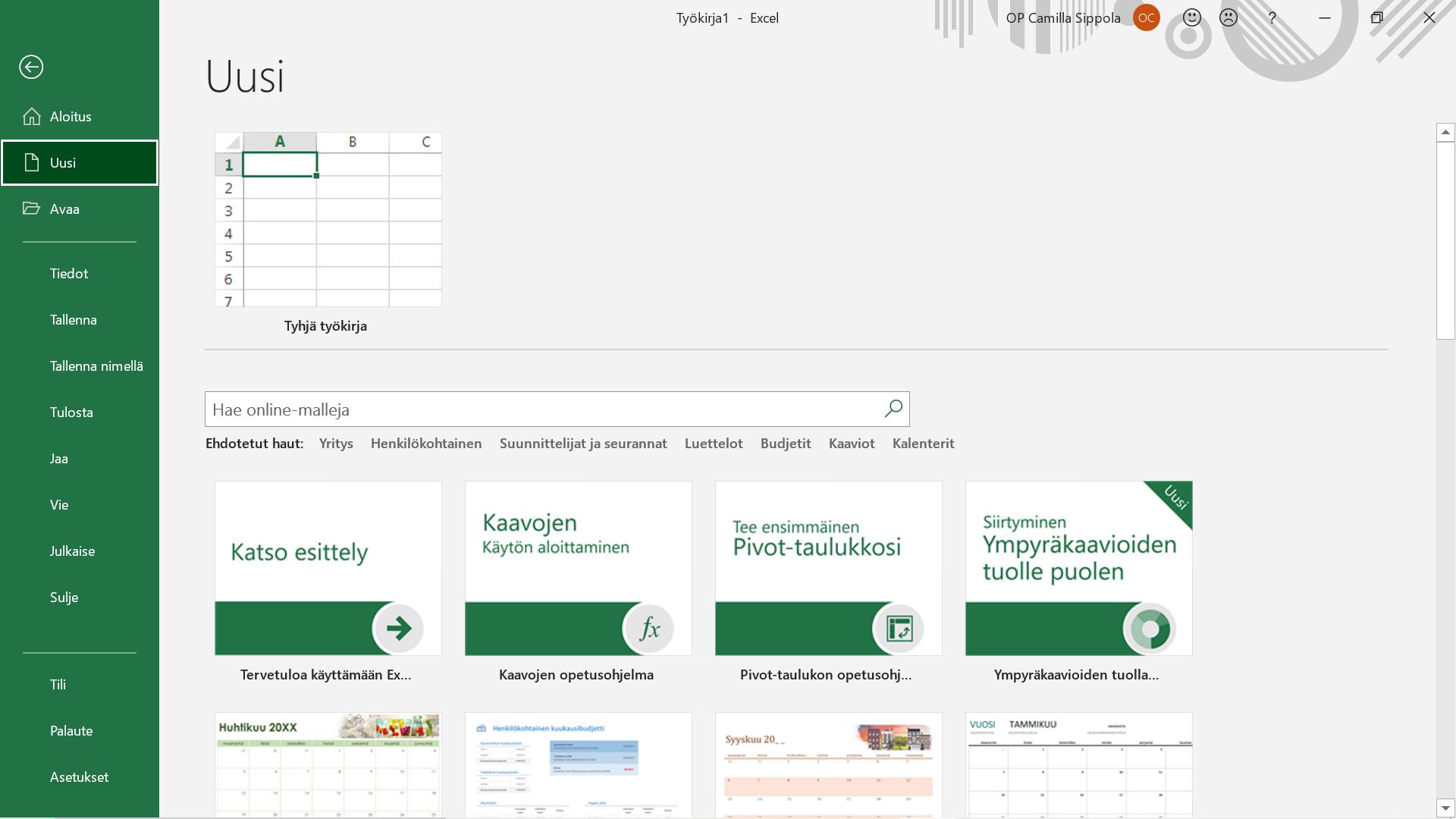 Excel aloitusnäkymä