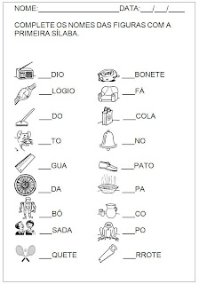 Hipótese de Escrita Silábica Alfabética - Complete o nome da figura 2