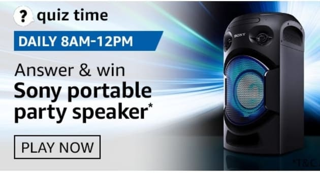 Amazon Quiz 5 September Answers Win Sony Portable  Party Speaker