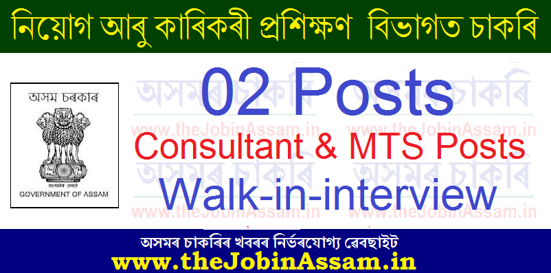DECT Assam Recruitment 2021: Apply for 02 Consultant & MTS Posts [Walk-in]
