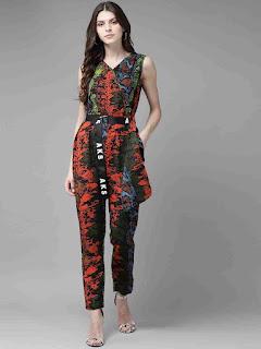 Orange-Black-Printed-Jumpsuit