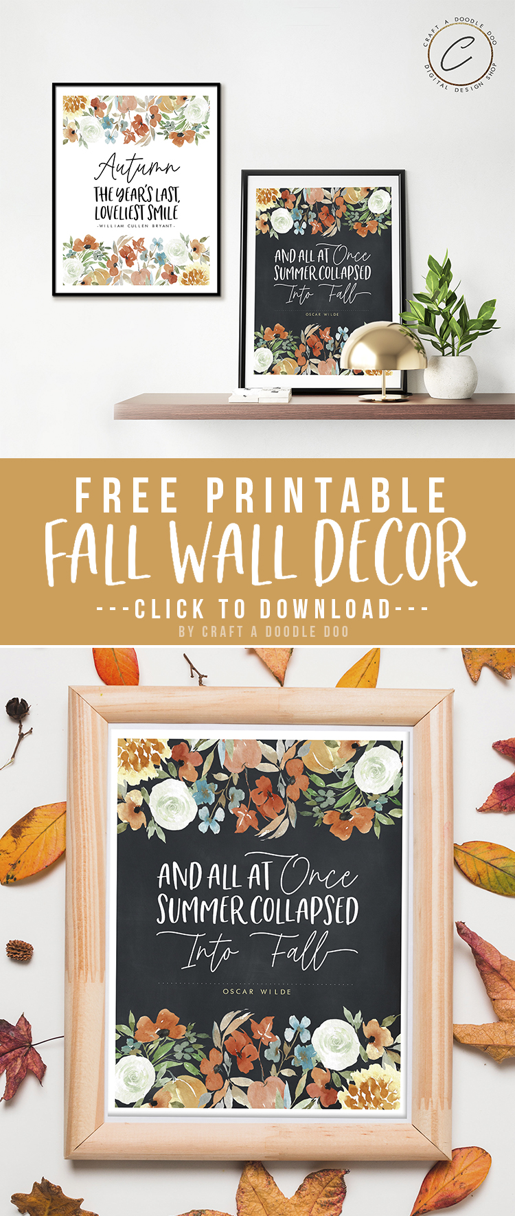 Free Fall Printable Wall Art Set | Watercolor Floral Farmhouse Style Autumn Digital Wall Decor by Craft A Doodle Doo #freefallprintablesbundle #freeautumnwallart #freefallwallgallery