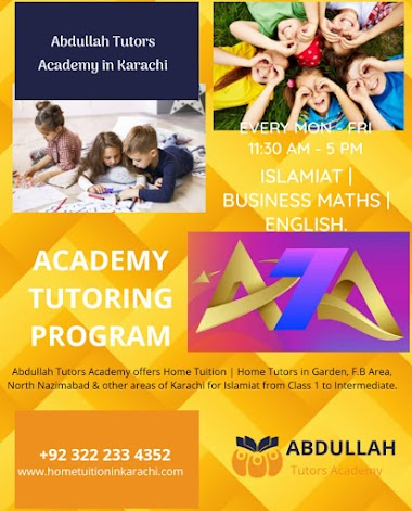 Abdullah Tutors Academy offering Home Tuition for Islamiat in Gulshan Town, Sindh Baloch Cooperative Housing Society, Karachi