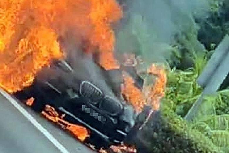 BMW bursts into flames on BKE, posted on 09 March 2021