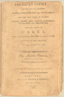 Image of the title page of the American Cookery cookbook