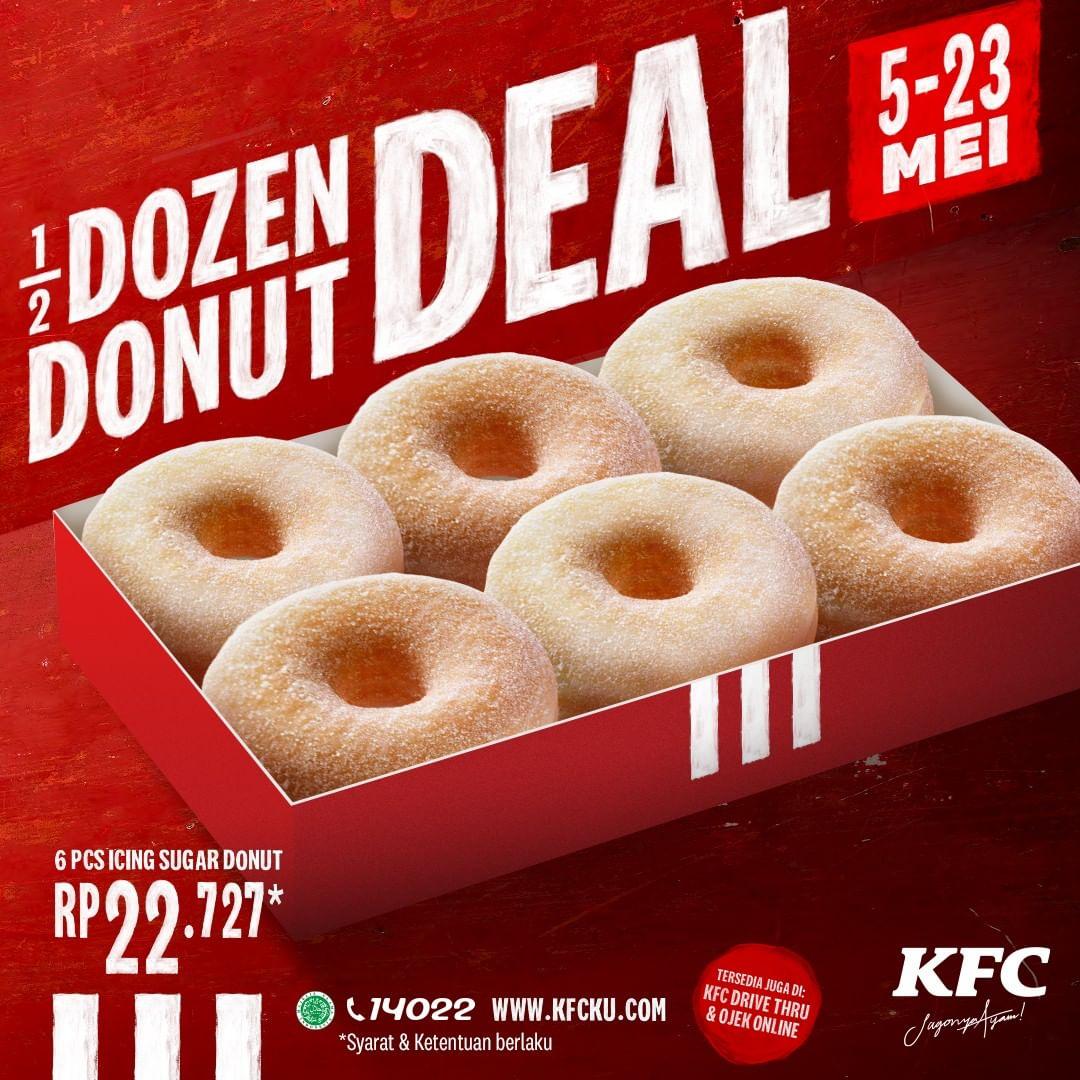 Promo KFC Paket 1/2 Lusin Donut hanya Rp. 22.727 Periode 5-23 Mei 2020