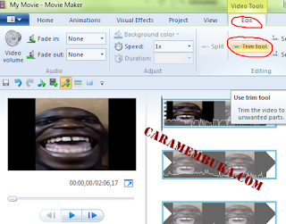 Klik Edit, Trim tool