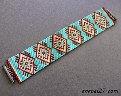 бирюзовый браслет из бисера в стиле этно