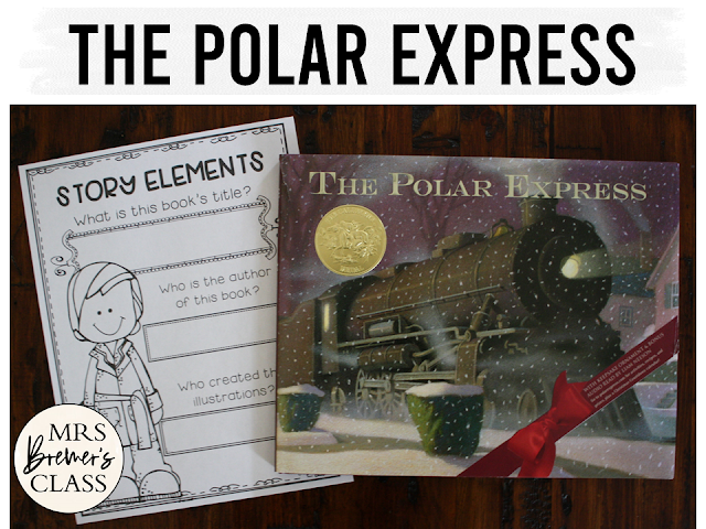 The Polar Express book study unit with Common Core aligned Christmas literacy companion activities and a craftivity for Kindergarten and First Grade