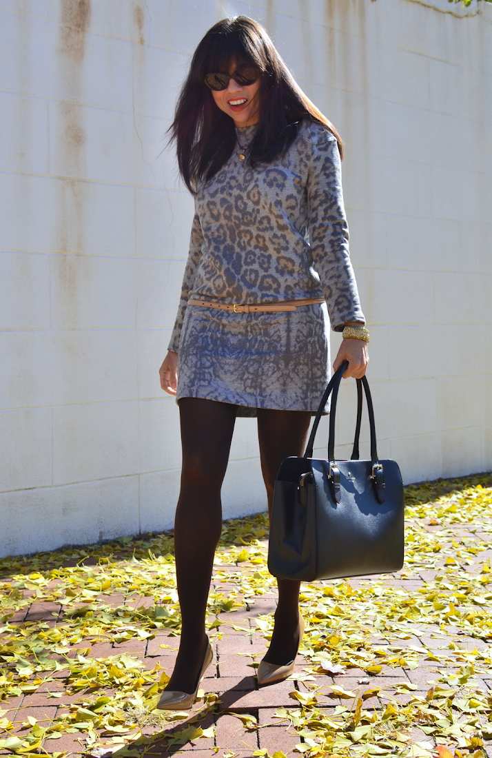 Gray leopard dress outfit