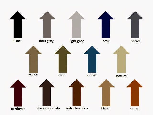 images and names of 14 colors that can function as neutral in a wardrobe