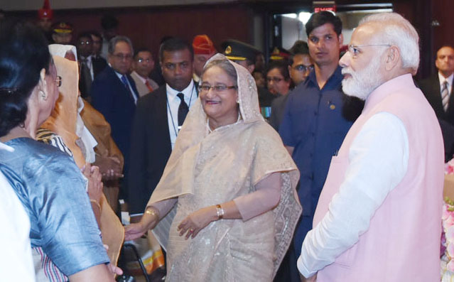 P.M Narendra Modi with the P.M Bangladesh, Ms. Sheikh Hasina in Delhi