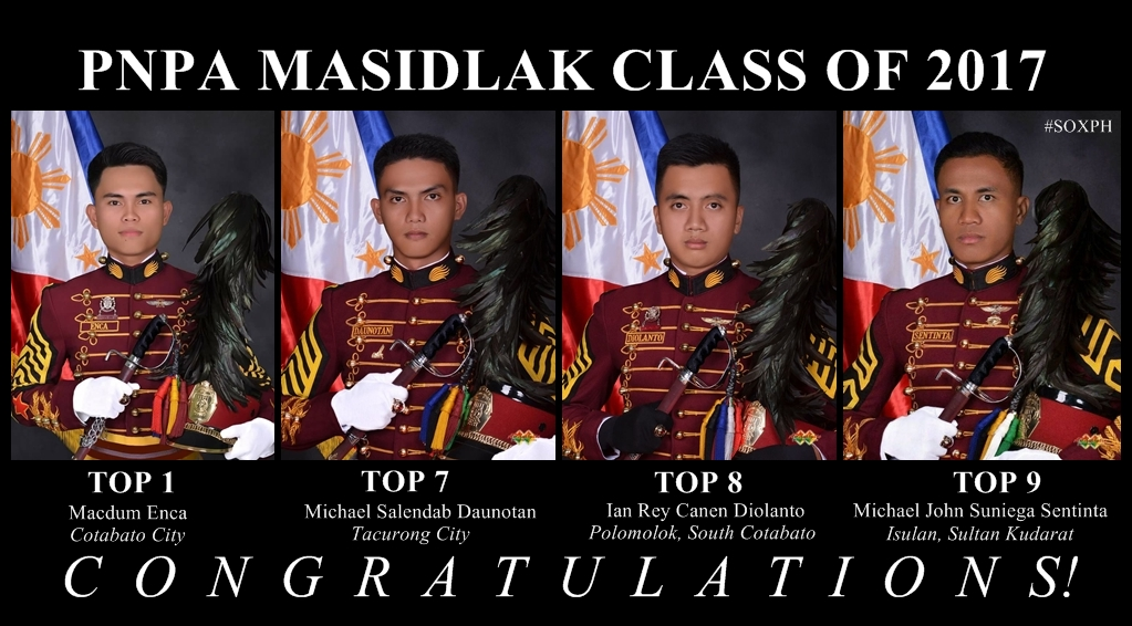 Class Valedictorian of PNPA Masidlak Class of 2017 is a Cotabateño, 3 others from Region 12 in Top 10