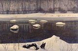 Sable River. Winter: Adirondacks by Rockwell Kent - Landscape Paintings from Hermitage Museum