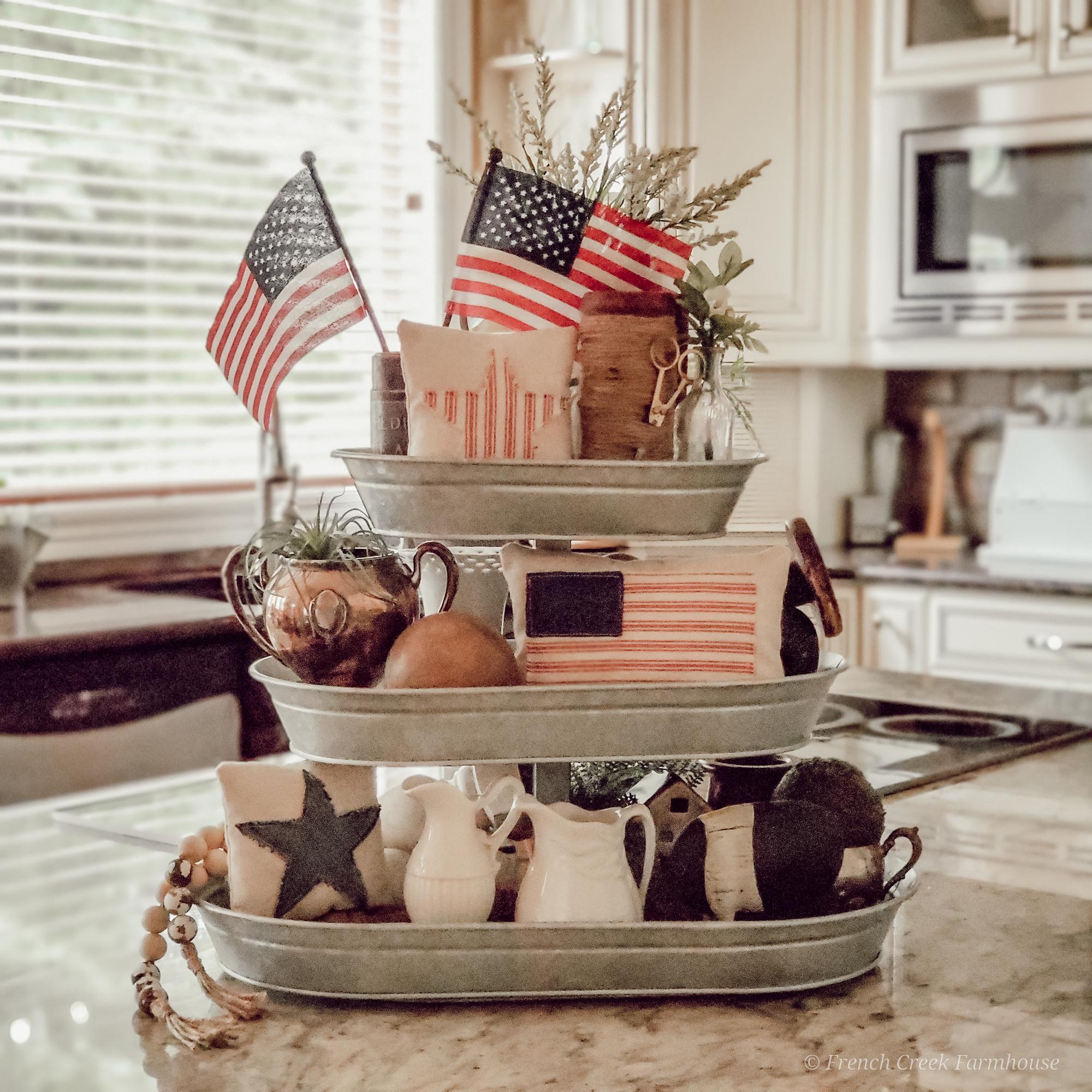 Patriotic Tiered Tray Decorating