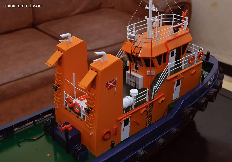 desain sketsa miniatur kapal tugboat tb sse olga milik singapore salvage engineers pt samudra salvage terbaik