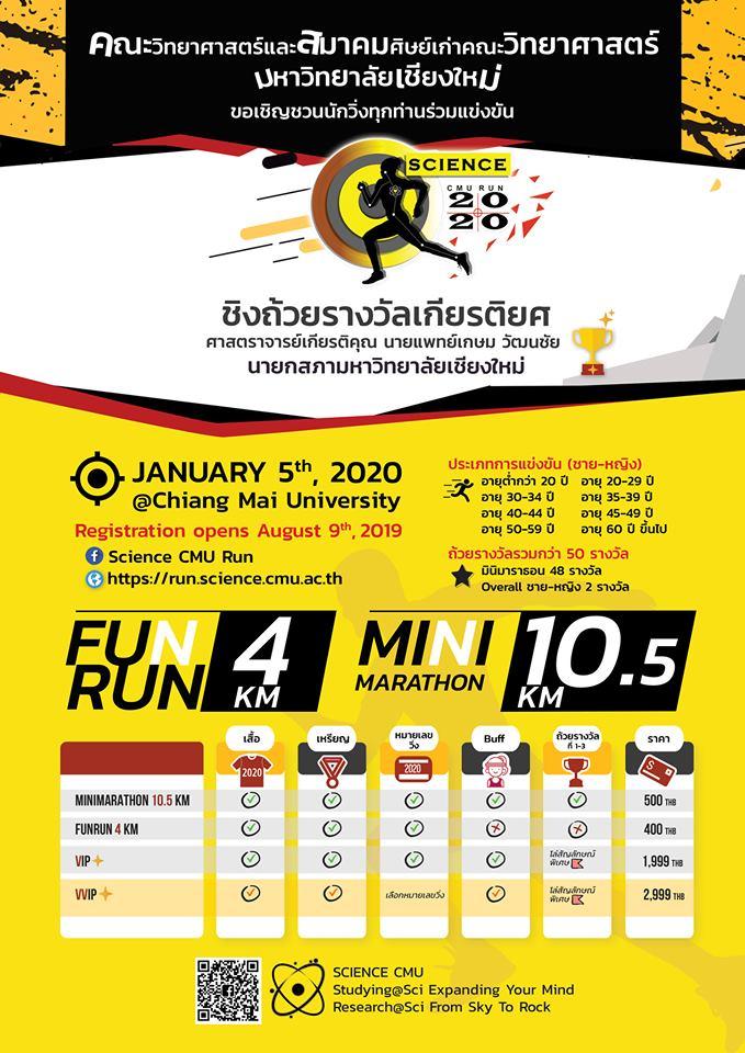 55th Anniversary Science CMU RUN 2020 วันอาทิตย์ที่ 5 มกราคม 2562 เวลา 05:30 – 08:30 น. เส้นทางภายในมหาวิทยาลัยเชียงใหม่