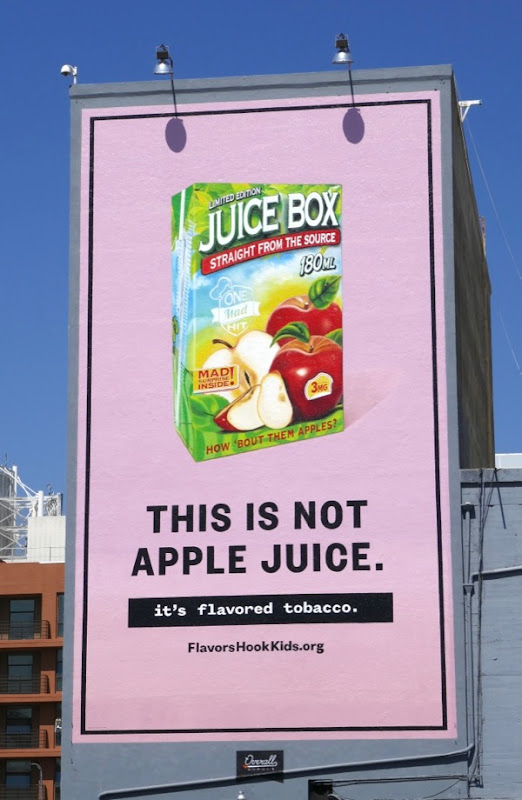 Flavored tobacco not apple juice billboard