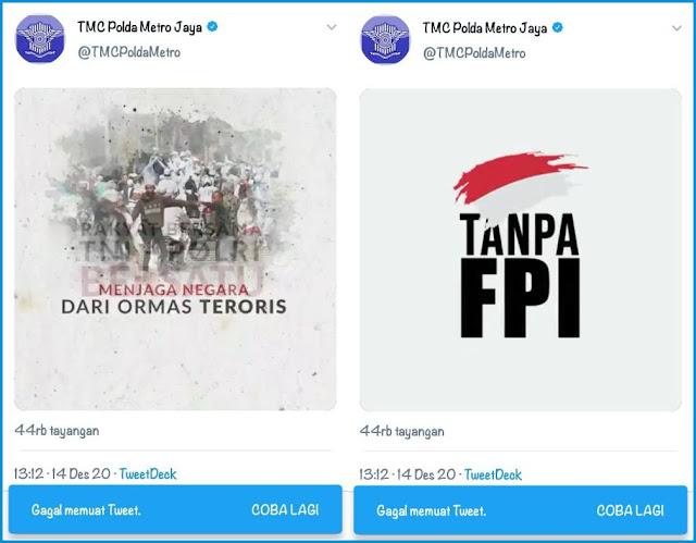 Sempat Diunggah, Video 'Tanpa FPI' Dihapus TMC Polda Metro Jaya