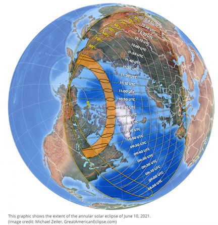 Path of June 10 annular solar eclipse (Source: Space.com)