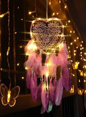 dreamcatcher, hvatač snova, snovolovac, snovohvatač, pink, fairy lights, decor, dekor, ukras,dar, poklon, gift, present