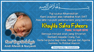 Desain Kartu Nama Kelahiran Bayi