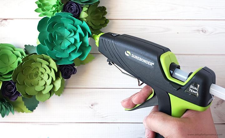 Paper Succulent Wreath Glue Gun