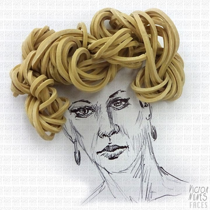 25-Rubber-Band-Hairdo-Victor-Nunes-The-Art-of-Making-and-Drawing-Faces-using-Everything-www-designstack-co